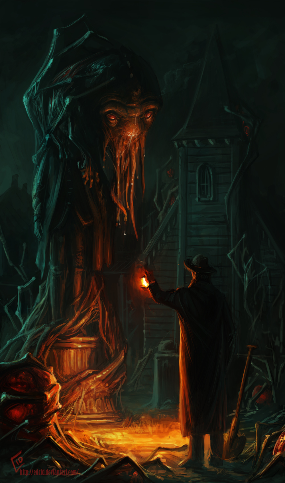 Cthulhu statue in front of a church