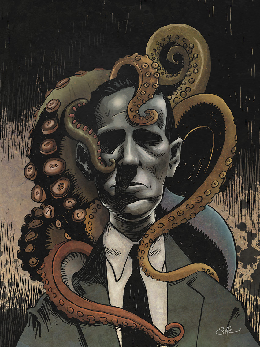 HP Lovecraft portrait with tentacles