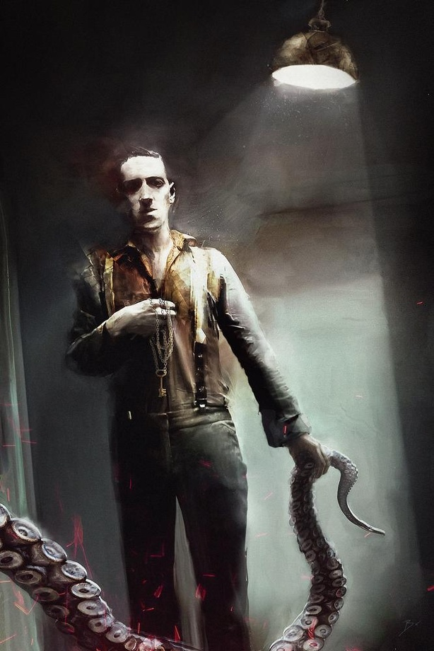 Full body portrait of Lovecraft holding a tentacle
