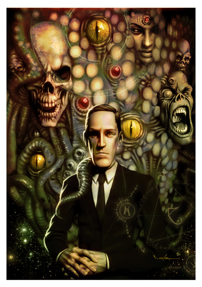 Lovecraft sitting in a chair with his creations surrounding him