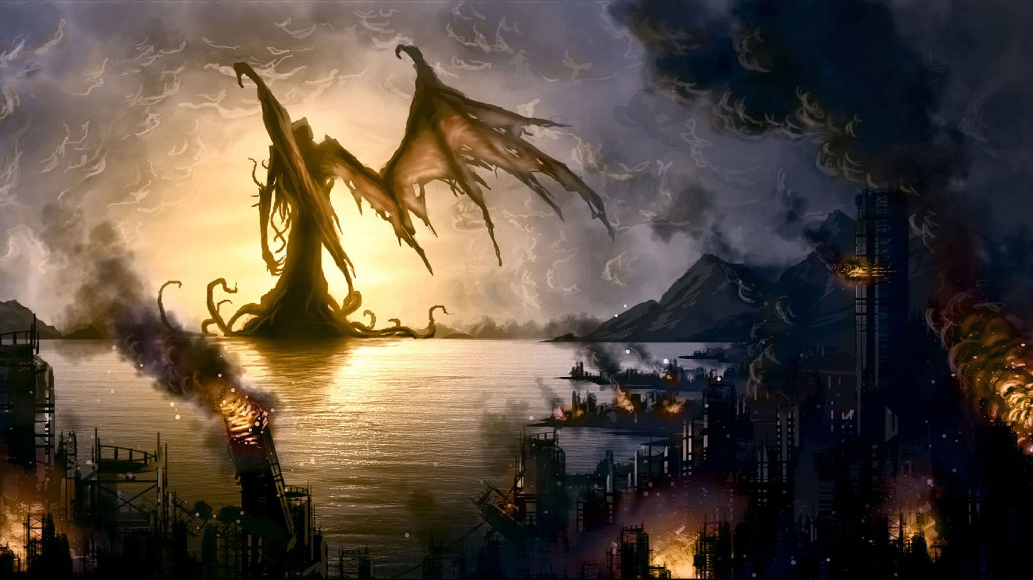 Cthulhu departs burning city by unknown artist
